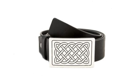 Cintura in Cuoio con Fibbia Nodo Celtico Ottone Argentato