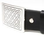 Cintura in Cuoio fibbia ottone argentato nodo celtico