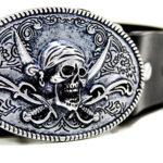 """Cintura in cuoio interamente Made in Italy, con Fibbia in lega di zama argentata con decorazione """"teschio pirati""""."""
